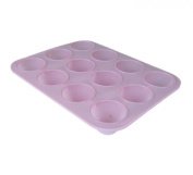 High Quality Pink Non-Stick Silicon 12 Cup Mini Muffin Pan Tray Baking Case