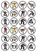 Transformers Edible Wafer Rice Paper 24 x 4.5cm Cupcake Toppers/Decorations