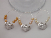 Set of 3 Bridesmaid Wine Glass Charms by Libby's Market Place