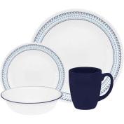 Corelle 16-Piece Vitrelle Glass Folk Stitch Chip and Break Resistant Dinner Set, Service for 4, Blue