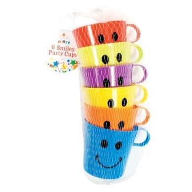 6 x Children's Plastic Smiley Face Mugs