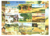 Art stamps - Australian Impressionists stamps for stamp collecting - Paintings by Australian painters - 9 mint stamps on a stamp sheet - Never mounted and never hinged