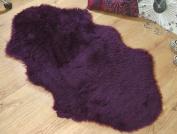 Plum purple aubergine double faux fur sheepskin style rug 70 x 140 cm