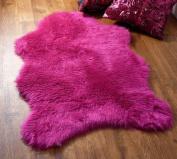 Fuschia hot pink faux fur sheepskin style single rug 70 x 100 cm