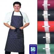 Large Denny's Striped Bib Apron With Pocket, 100% Cotton, *LONG TIES* Various Colours available