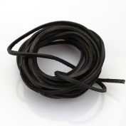 3mm Genuine Leather Cord Braiding String Black For Bracelet Necklace