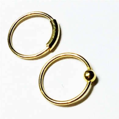 TWO Nose Rings, 10mm, 22 gauge,18k gold over sterling silver, captive bead and plain hoop, lip,eyebrow,body piercing,septum
