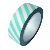 Aqua Stripe Japanese Washi Tape - *15mm x 15M* - TWILIGHT PARTIES