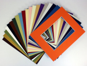 Pack of 25 sets 8x10 MIXED colours Picture Mats Mattes Matting for 5x7 Photo + Backing + Bags