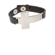 Cross Leather Cuff Bold Side Cross Bracelet Silver