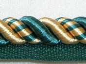 1cm Twisted Lip Cord Trim Mingled with Gold and Green 5 Yards - T2017