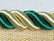 1cm Twisted Lip Cord Trim Mingled with Light Gold and Teal 5 Yards - T2211