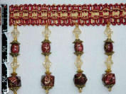 7.6cm Exquisite Designed Tassel Fringe Bead and Marble-Style Trim Burgundy Per Yard - T1314