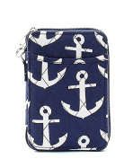 Anchor Quilted Mini Wallet Wristlet Navy Blue