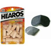 Hearos Ultimate Softness Foam Ear Plugs [20 Pairs] & MaskCraft Airline Sleep Mask [Black] - Bundle