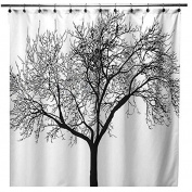 Black Scenery Tree Design Bathroom Waterproof Fabric Bath Shower Curtain