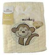 Little Beginnings Baby Blanket - Yellow Waffle Fleece - Monkey - Try Me, I Squeak!