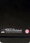Monsieur Notebook Leather Journal - Landscape Black Watercolor Medium