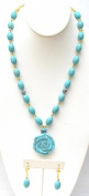 46cm Long Necklace with Semi-Precious Blue Turquoise Stone, Stone Flower Pendant + Matching Stone Earring