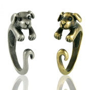 Enhanced Puppy Dog Adjustable Animal Wrap Ring 2 Piece Set Vintage Silver and Gold