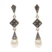 .925 Sterling Silver Jewellery Freshwater Pearls Earrings Marcasite Cap & Square Top.