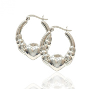 .925 Sterling Silver Polished Claddagh Hoop Earrings