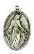 Art Deco Style Miraculous Medal 3.5cm Sterling Silver Pendant
