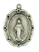 Scalloped Edge Miraculous Medal 3.5cm Sterling Silver Pendant