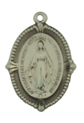 Miraculous Medal with Beaded Edge 2.4cm Sterling Silver Pendant