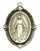 Miraculous Medal with Beaded Edge 2.7cm Sterling Silver Pendant