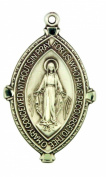 Miraculous Medal with Beaded Edge 3.5cm Sterling Silver Pendant
