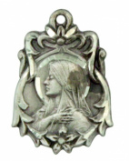 Madonna with Sacred Heart Medal 2.1cm Sterling Silver Pendant