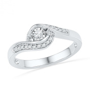 Sterling Silver White Round Diamond Promise Ring
