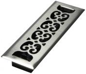 Decor Grates SPH210-NKL 5.1cm by 25cm Scroll Floor Register, Nickel