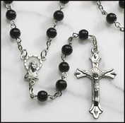 Black Glass Beads Rosary, 6mm Beads, Great for Men or Boys