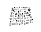 80 pcs HIgh Quality Mix Antique Silver Plated Oxidised Metal Beads Charms Set Mix Lot - Compatible with Pandora Biagi Troll Chamilia Bracelets w/ Blue Organza Pouch