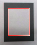 16x20 Black & Bright Red Double Picture Mat, Bevel Cut for 11x14 Picture or Photo
