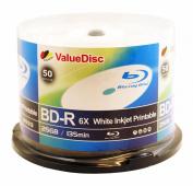 ValueDisc BD-R 6X 50GB WHITE INKJET PRINTABLE 50PK in Spindle