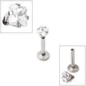 "16g Internally Threaded Square Dia Cut Clear Gem Prong Set 5/16""(8mm)labret"