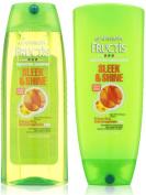 Garnier Sleek and Shine Shampoo and Conditioner, 25.4 Fluid Ounce