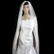 Bridal Wedding Veil Ivory 1 Tier Cathedral Length 0.3cm Satin Ribbon Edge