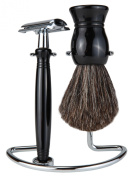 Shaving Gift Set With Safety Razor, 100% Badger Hair Shaving Brush, And All Metal Stand