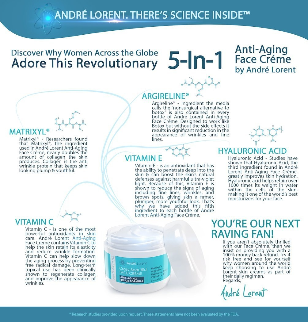 Andre Lorent CRAZY BEAUTIFUL Anti Ageing Face Cream ● Revolutionary 5-In-1  Skin Repair Formula That Contains Proven Anti-Ageing Fighters