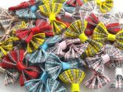 50pcs Mini Grosgrain Ribbon Plaid Bow Flowers the Wedding Decoration Appliques