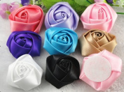 10pcs Big Satin Ribbon Rose Flower DIY Craft Appliques U Pick 45mm