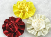 12pcs Satin the Ribbon Round Rose Flowers with the Appliques Craft DIY Wedding