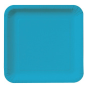 Creative Converting Touch of Colour 18 Count Square Paper Dinner Plates, Turquoise