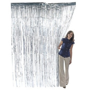 Silver Metallic Fringe Curtain Party Room Decor 0.9m x 2.4m