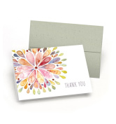 Elegant Set of Thank You Cards - Watercolour Flower Burst