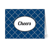 Modern Lattice 'Cheers' Navy - 24 Cards for $7.49 - Blank Cards w/ Grey Envelopes Included